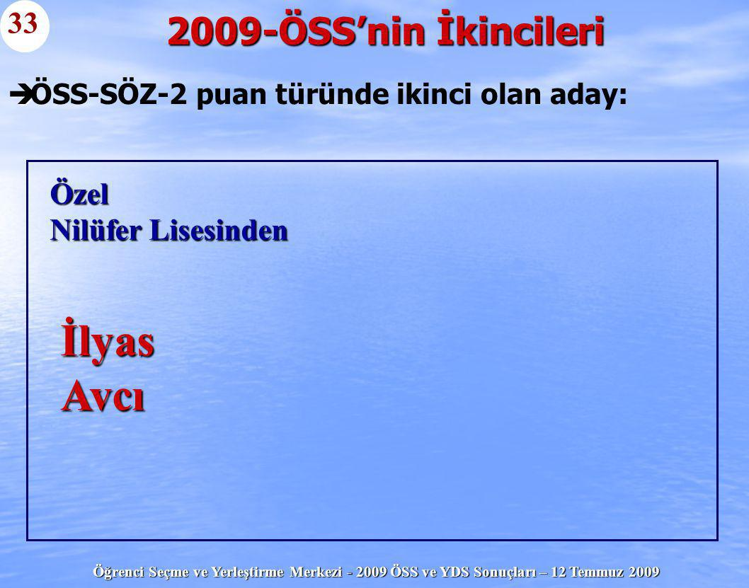 Öğrenci Seçme ve Yerleştirme Merkezi - 2009 ÖSS ve YDS Sonuçları – 12 Temmuz 2009   ÖSS-SÖZ-2 puan türünde ikinci olan aday: 2009-ÖSS'nin İkincileri