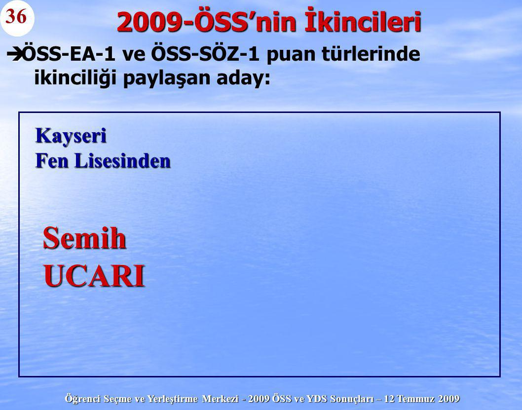 Öğrenci Seçme ve Yerleştirme Merkezi - 2009 ÖSS ve YDS Sonuçları – 12 Temmuz 2009   ÖSS-EA-1 ve ÖSS-SÖZ-1 puan türlerinde ikinciliği paylaşan aday: