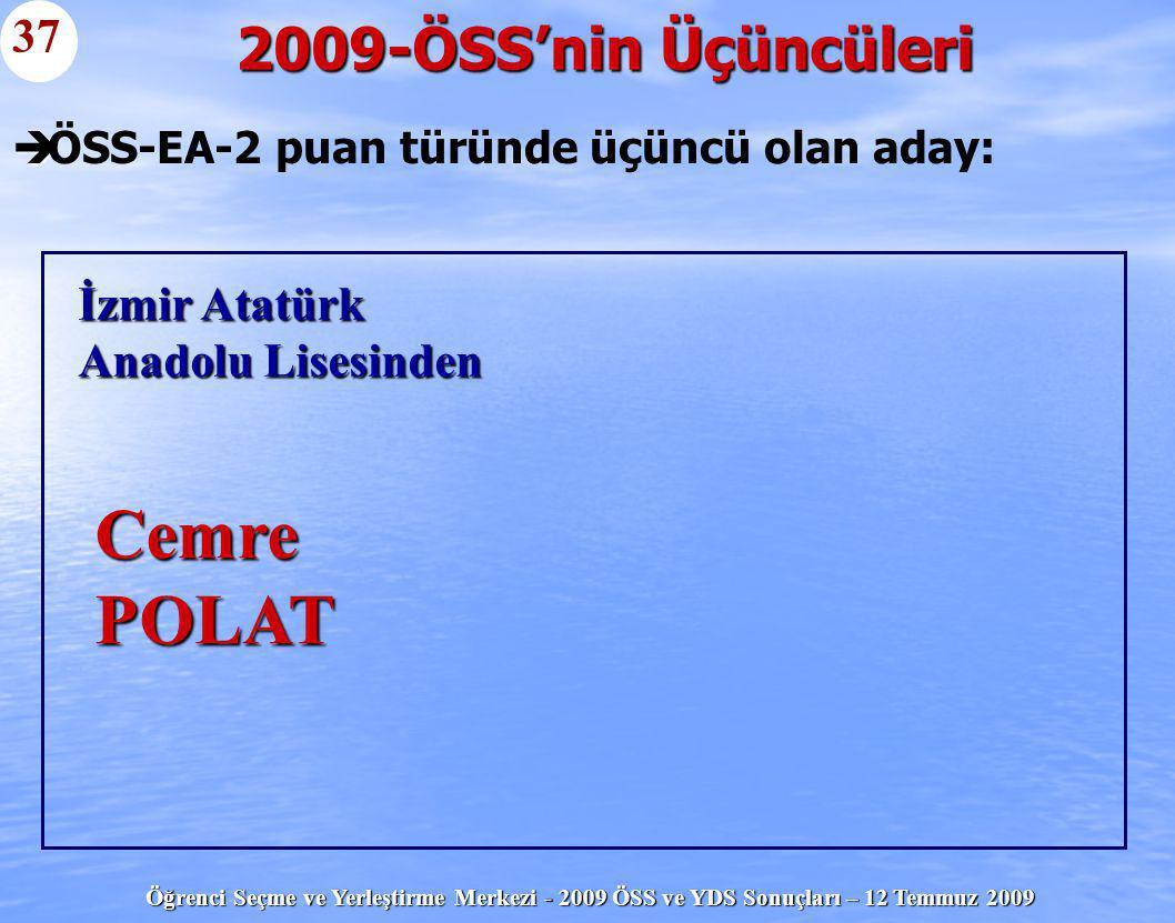 Öğrenci Seçme ve Yerleştirme Merkezi - 2009 ÖSS ve YDS Sonuçları – 12 Temmuz 2009   ÖSS-EA-2 puan türünde üçüncü olan aday: 2009-ÖSS'nin Üçüncüleri