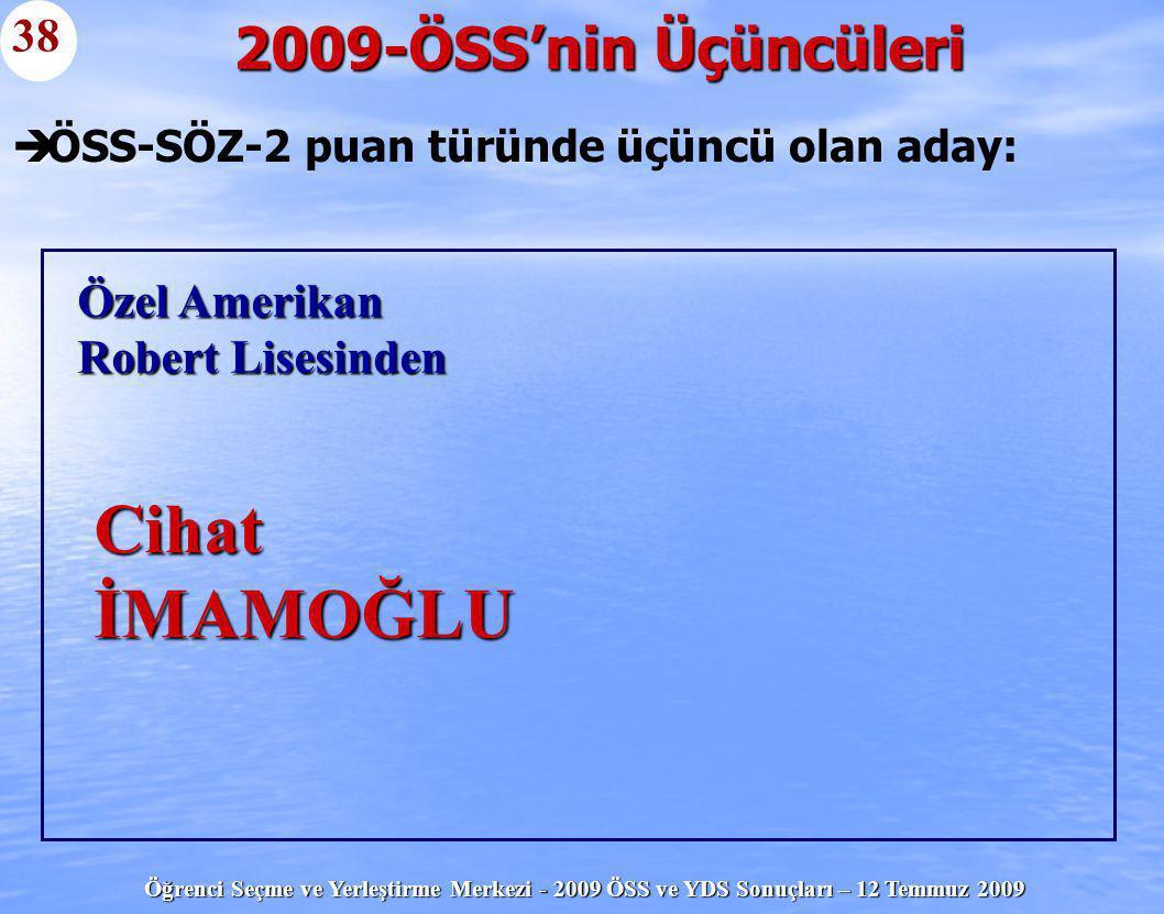 Öğrenci Seçme ve Yerleştirme Merkezi - 2009 ÖSS ve YDS Sonuçları – 12 Temmuz 2009   ÖSS-SÖZ-2 puan türünde üçüncü olan aday: 2009-ÖSS'nin Üçüncüleri