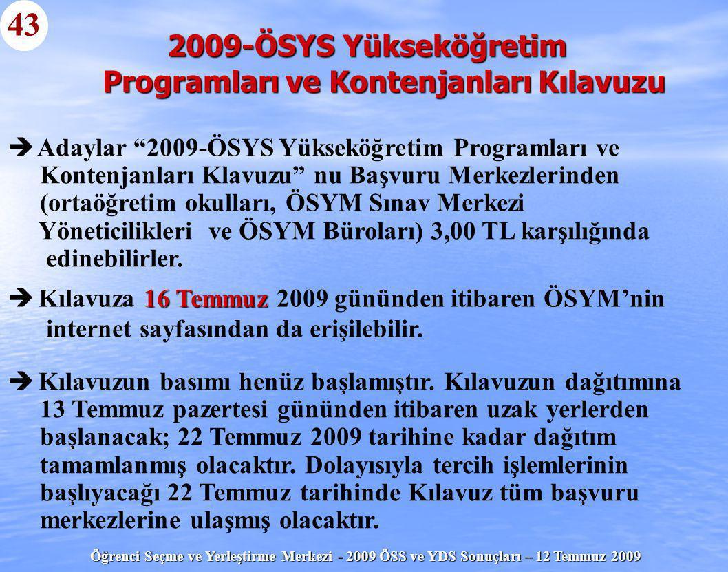 """Öğrenci Seçme ve Yerleştirme Merkezi - 2009 ÖSS ve YDS Sonuçları – 12 Temmuz 2009 43   Adaylar """"2009-ÖSYS Yükseköğretim Programları ve Kontenjanları"""