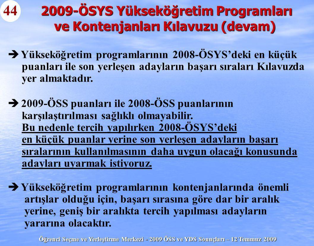 Öğrenci Seçme ve Yerleştirme Merkezi - 2009 ÖSS ve YDS Sonuçları – 12 Temmuz 2009 44   Yükseköğretim programlarının 2008-ÖSYS'deki en küçük puanları