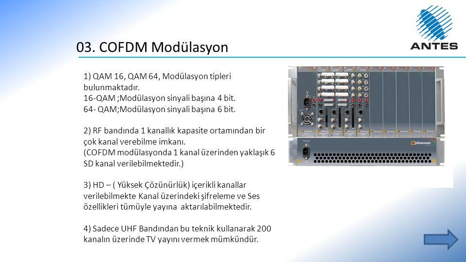 03. COFDM Modülasyon 1) QAM 16, QAM 64, Modülasyon tipleri bulunmaktadır. 16-QAM ;Modülasyon sinyali başına 4 bit. 64- QAM;Modülasyon sinyali başına 6