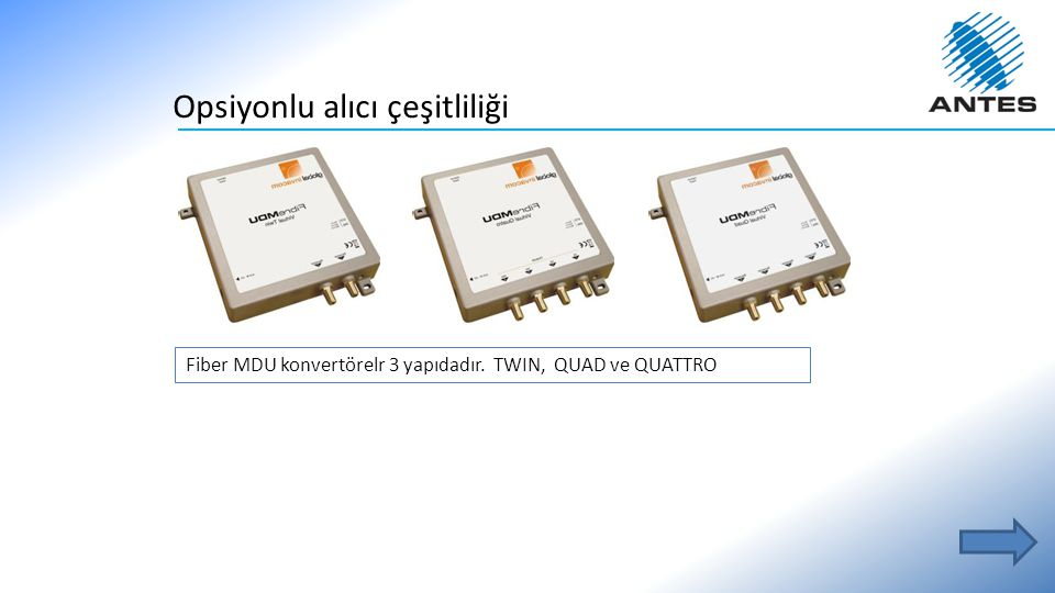 Opsiyonlu alıcı çeşitliliği Fiber MDU konvertörelr 3 yapıdadır. TWIN, QUAD ve QUATTRO
