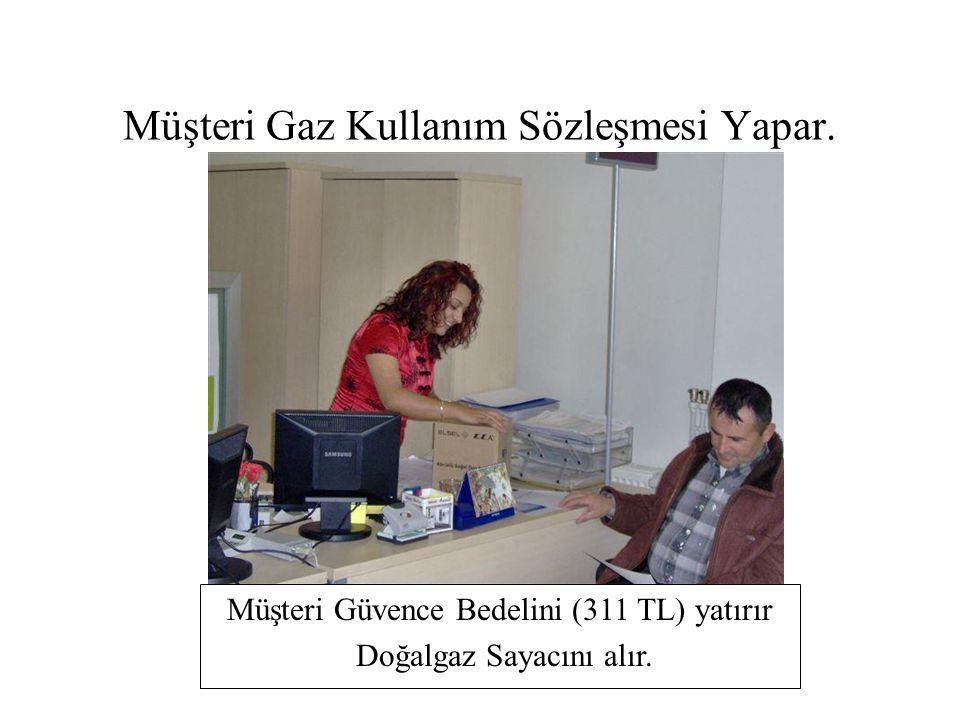 Müşteri Gaz Kullanım Sözleşmesi Yapar. Müşteri Güvence Bedelini (311 TL) yatırır Doğalgaz Sayacını alır.