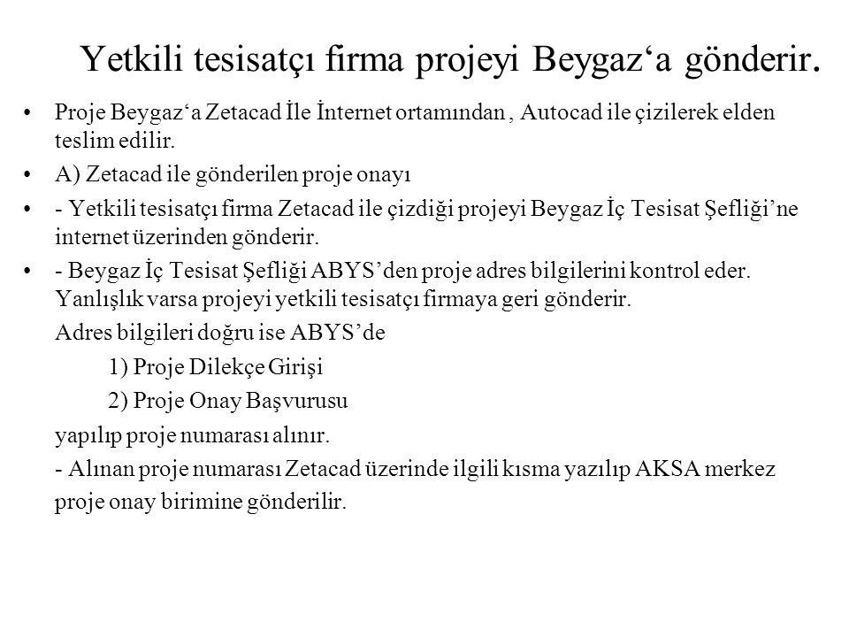 Yetkili tesisatçı firma projeyi Beygaz'a gönderir. •Proje Beygaz'a Zetacad İle İnternet ortamından, Autocad ile çizilerek elden teslim edilir. •A) Zet