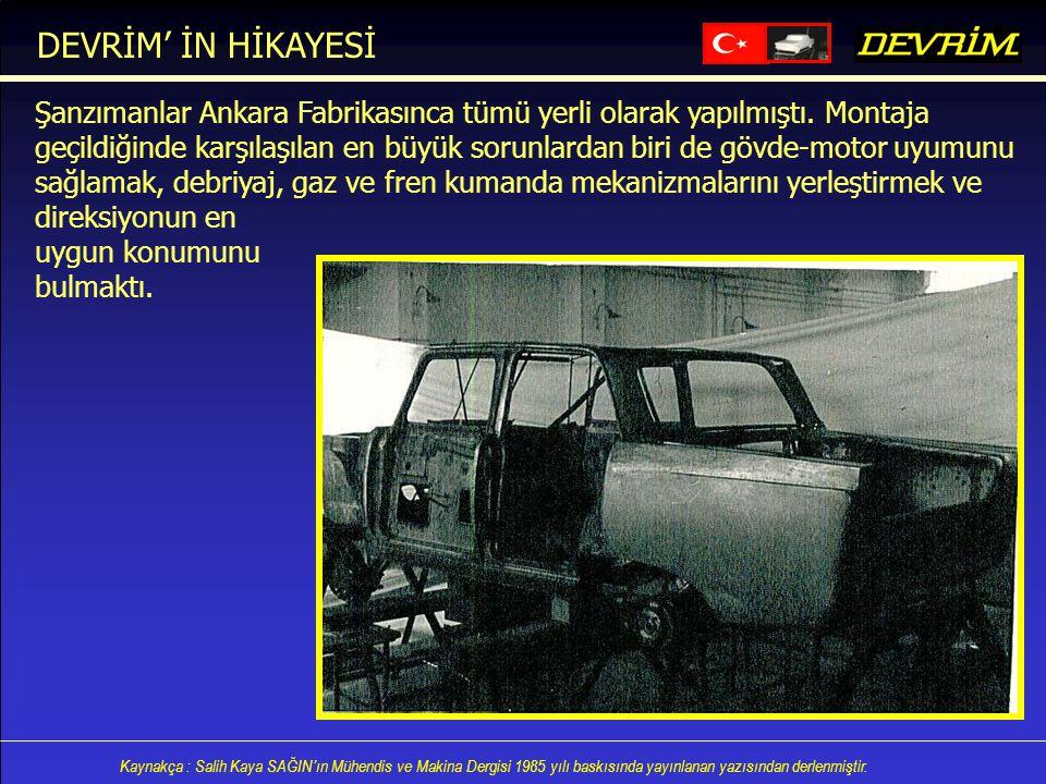 Kaynakça : Salih Kaya SAĞIN'ın Mühendis ve Makina Dergisi 1985 yılı baskısında yayınlanan yazısından derlenmiştir. Şanzımanlar Ankara Fabrikasınca tüm