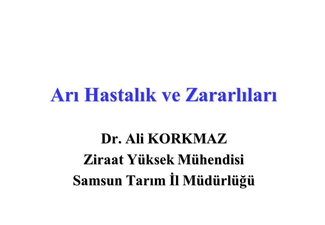 Arı Hastalık ve Zararlıları Dr. Ali KORKMAZ Ziraat Yüksek Mühendisi Samsun Tarım İl Müdürlüğü