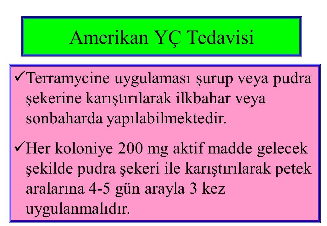 Amerikan YÇ Tedavisi  Terramycine uygulaması şurup veya pudra şekerine karıştırılarak ilkbahar veya sonbaharda yapılabilmektedir.  Her koloniye 200