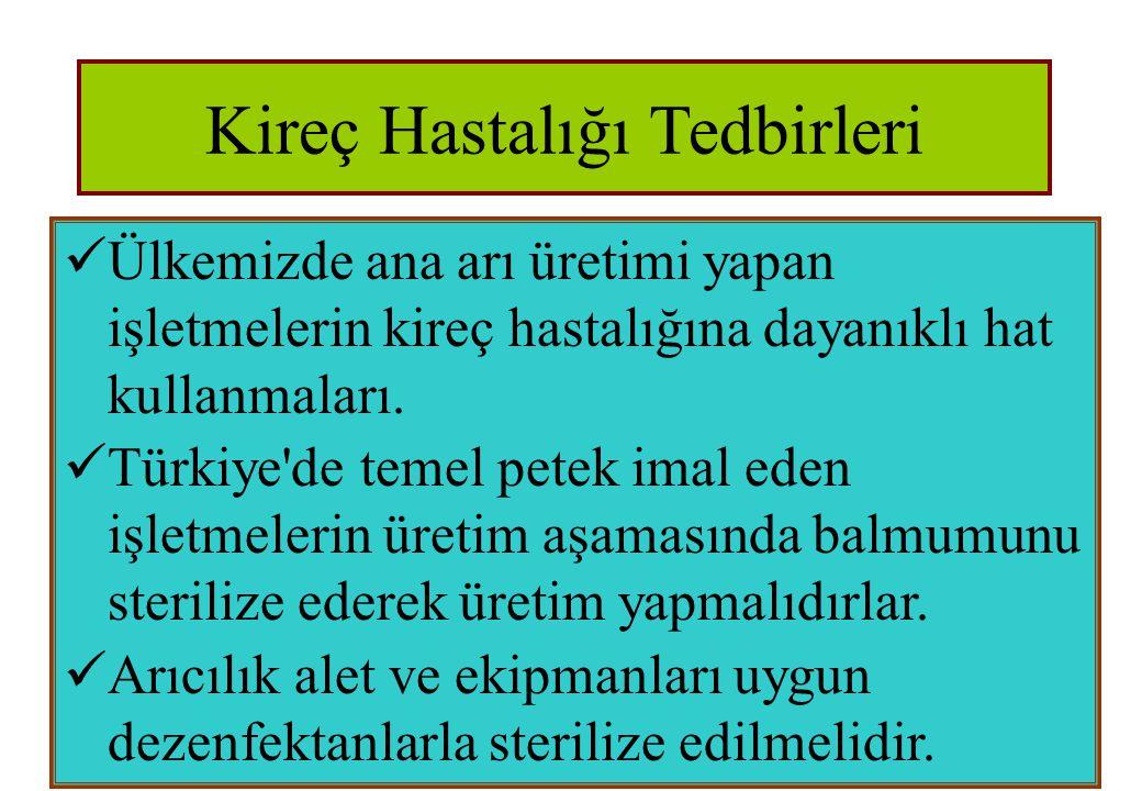 Kireç Hastalığı Tedbirleri  Ülkemizde ana arı üretimi yapan işletmelerin kireç hastalığına dayanıklı hat kullanmaları.  Türkiye'de temel petek imal