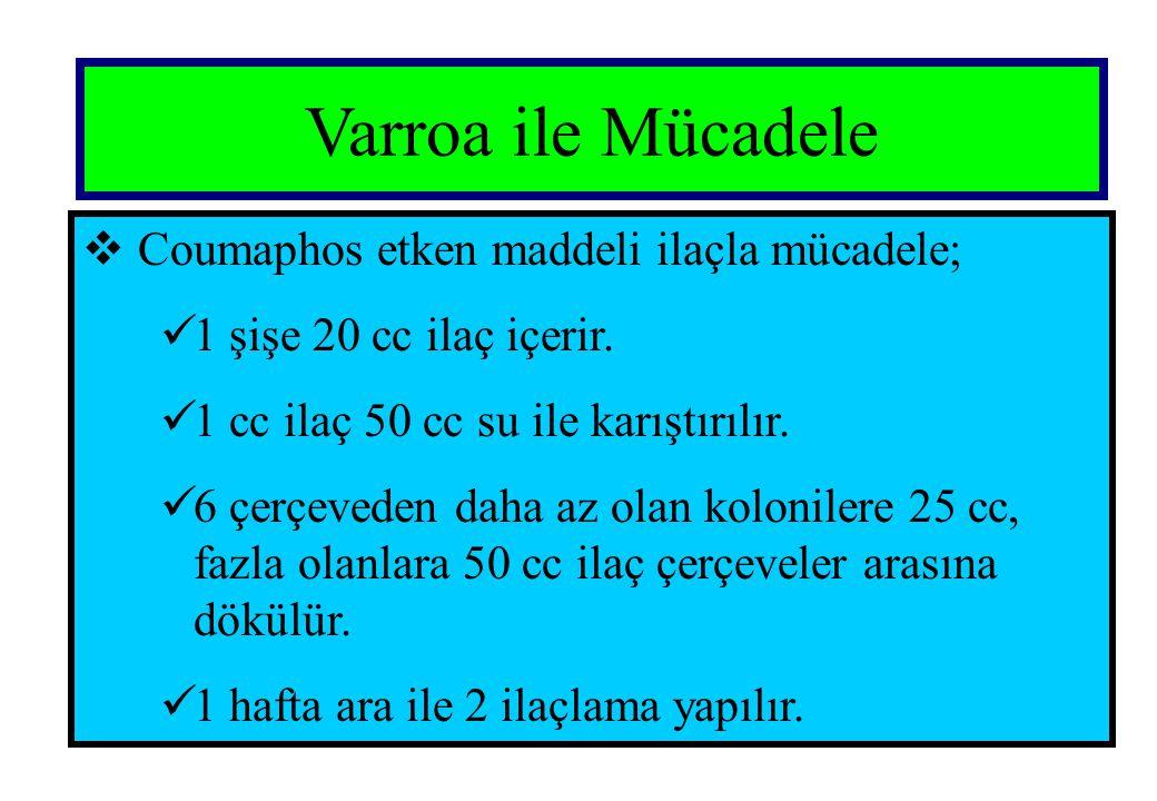 Varroa ile Mücadele  Coumaphos etken maddeli ilaçla mücadele;  1 şişe 20 cc ilaç içerir.  1 cc ilaç 50 cc su ile karıştırılır.  6 çerçeveden daha