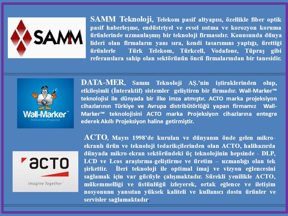 SAMM Teknoloji, Telekom pasif altyapısı, özellikle fiber optik pasif haberleşme, endüstriyel ve evsel ısıtma ve korozyon koruma ürünlerinde uzmanlaşmış bir teknoloji firmasıdır.