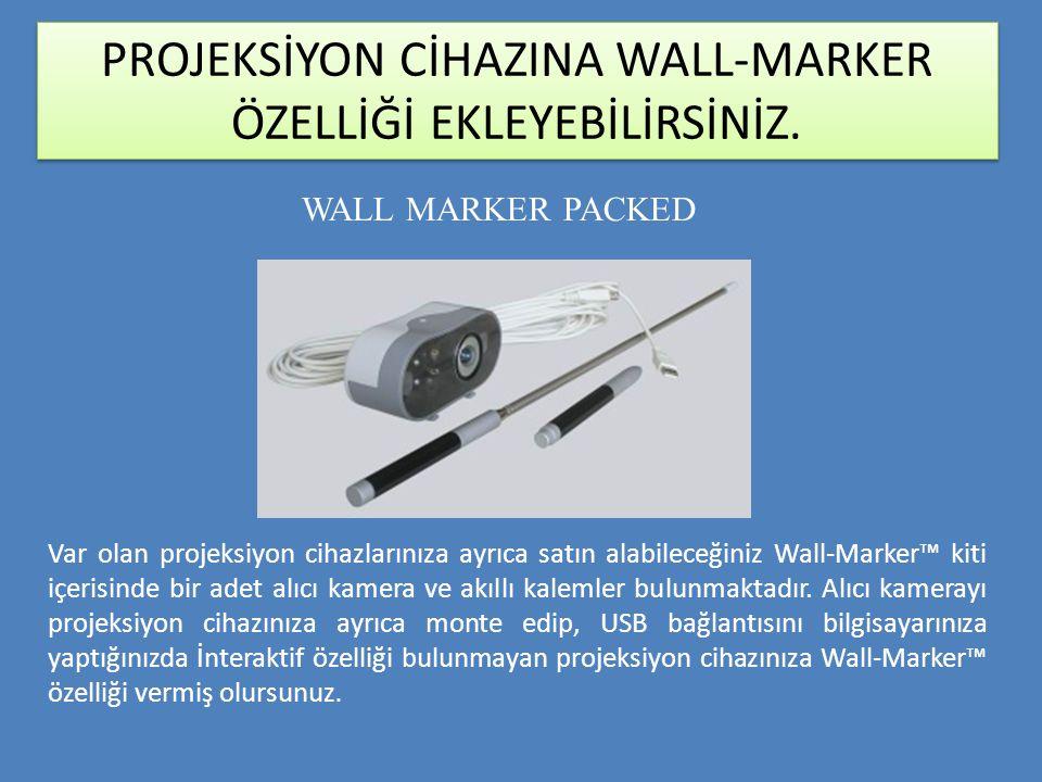 PROJEKSİYON CİHAZINA WALL-MARKER ÖZELLİĞİ EKLEYEBİLİRSİNİZ. Var olan projeksiyon cihazlarınıza ayrıca satın alabileceğiniz Wall-Marker™ kiti içerisind