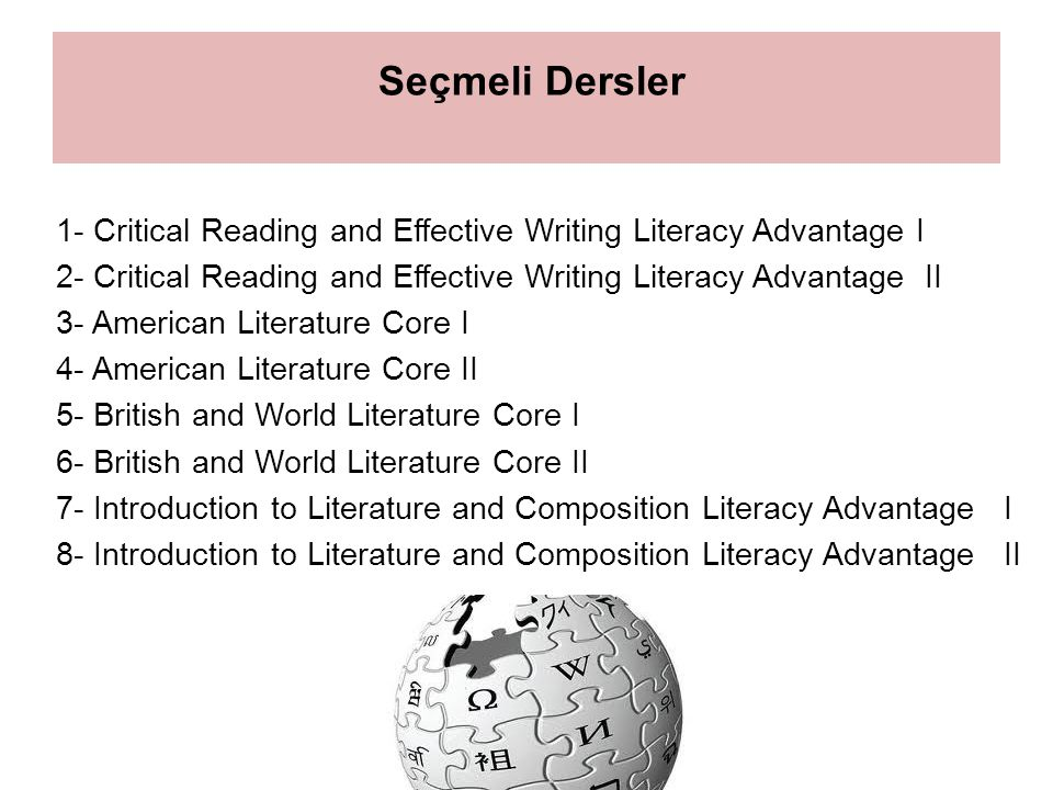Seçmeli Dersler 1- Critical Reading and Effective Writing Literacy Advantage I 2- Critical Reading and Effective Writing Literacy Advantage II 3- American Literature Core I 4- American Literature Core II 5- British and World Literature Core I 6- British and World Literature Core II 7- Introduction to Literature and Composition Literacy Advantage I 8- Introduction to Literature and Composition Literacy Advantage II