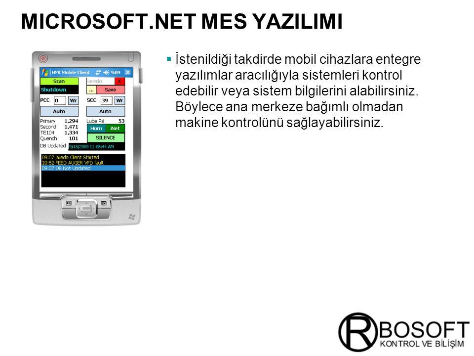 Masterversion 12 MICROSOFT.NET MES YAZILIMI  İstenildiği takdirde mobil cihazlara entegre yazılımlar aracılığıyla sistemleri kontrol edebilir veya si