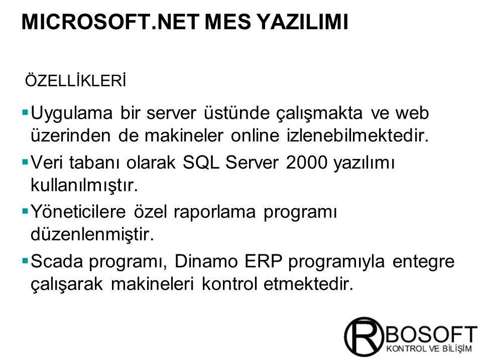Masterversion 12  Uygulama bir server üstünde çalışmakta ve web üzerinden de makineler online izlenebilmektedir.  Veri tabanı olarak SQL Server 2000