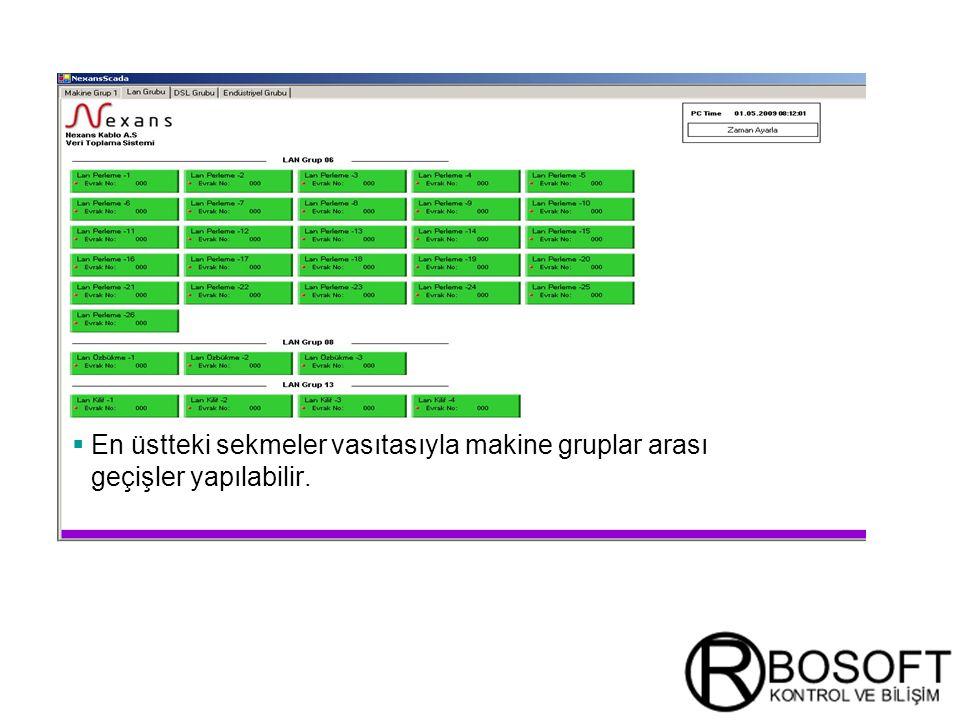 Masterversion 12  En üstteki sekmeler vasıtasıyla makine gruplar arası geçişler yapılabilir.