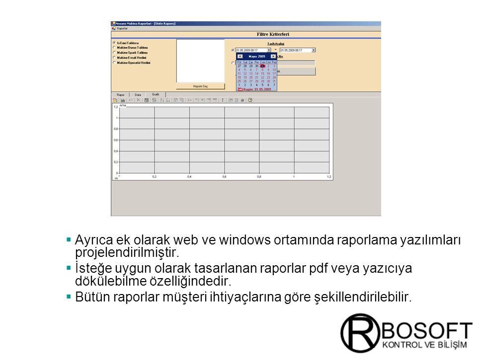 Masterversion 12  Ayrıca ek olarak web ve windows ortamında raporlama yazılımları projelendirilmiştir.  İsteğe uygun olarak tasarlanan raporlar pdf