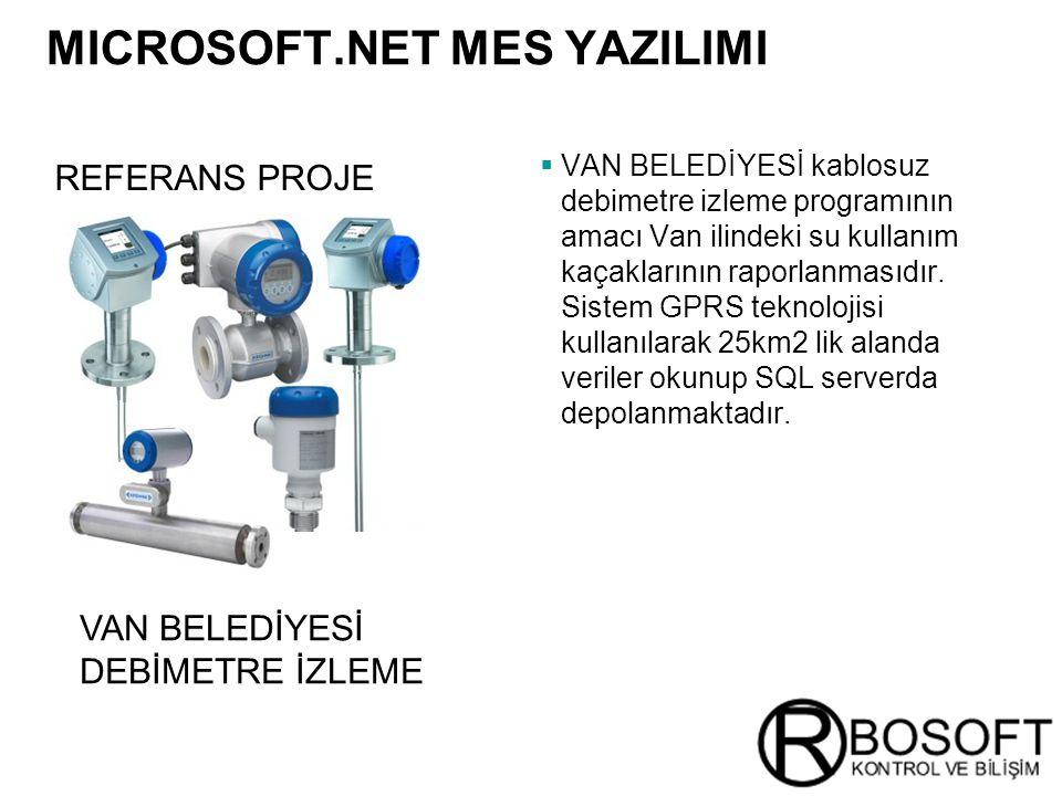 Masterversion 12 REFERANS PROJE MICROSOFT.NET MES YAZILIMI  VAN BELEDİYESİ kablosuz debimetre izleme programının amacı Van ilindeki su kullanım kaçaklarının raporlanmasıdır.