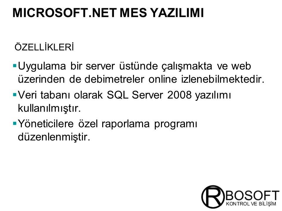 Masterversion 12  Uygulama bir server üstünde çalışmakta ve web üzerinden de debimetreler online izlenebilmektedir.  Veri tabanı olarak SQL Server 2