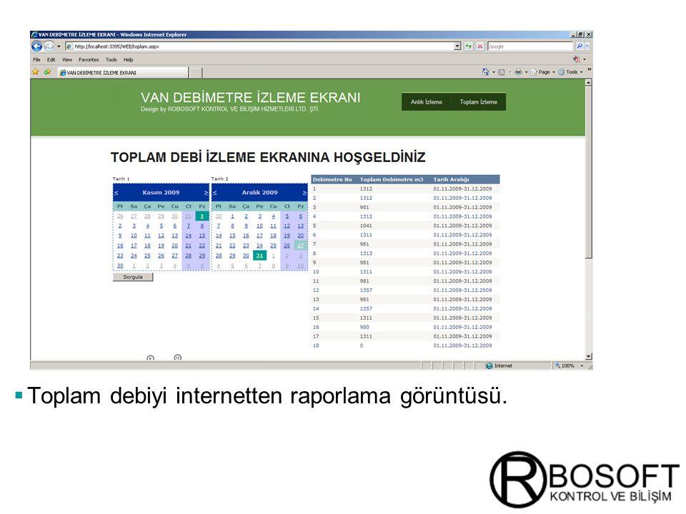 Masterversion 12  Toplam debiyi internetten raporlama görüntüsü.
