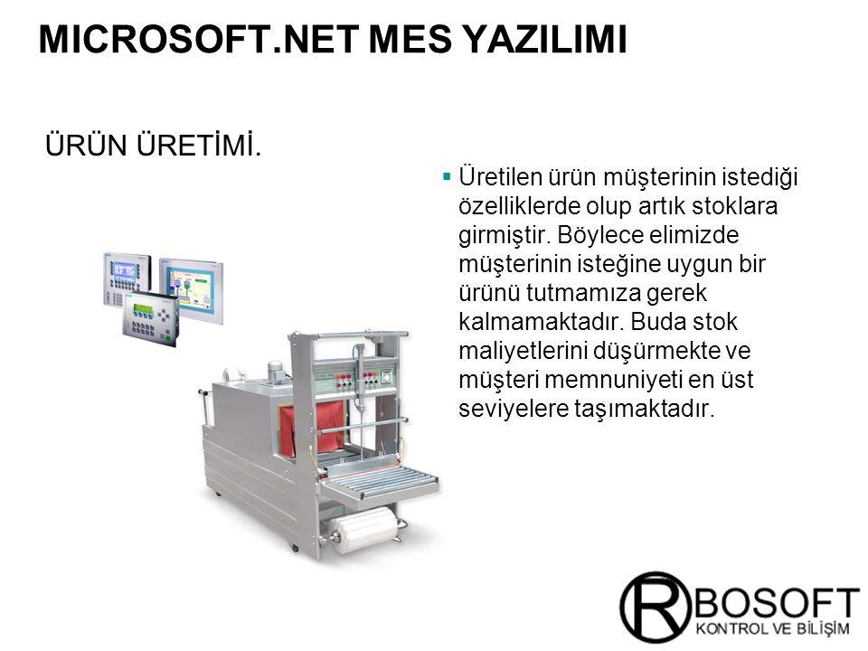 Masterversion 12 ÜRÜN ÜRETİMİ. MICROSOFT.NET MES YAZILIMI  Üretilen ürün müşterinin istediği özelliklerde olup artık stoklara girmiştir. Böylece elim