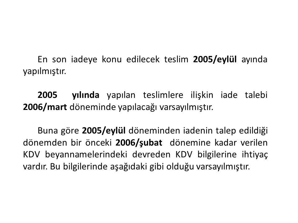 En son iadeye konu edilecek teslim 2005/eylül ayında yapılmıştır. 2005 yılında yapılan teslimlere ilişkin iade talebi 2006/mart döneminde yapılacağı v