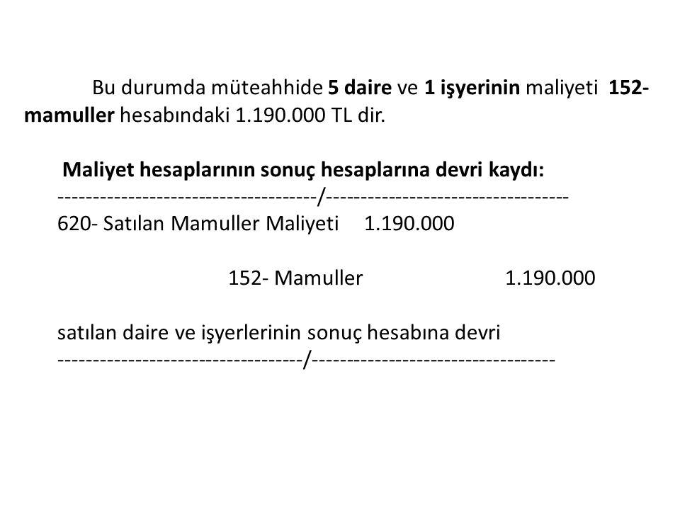 Bu durumda müteahhide 5 daire ve 1 işyerinin maliyeti 152- mamuller hesabındaki 1.190.000 TL dir. Maliyet hesaplarının sonuç hesaplarına devri kaydı: