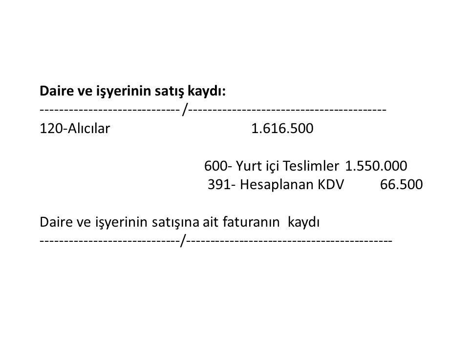 Daire ve işyerinin satış kaydı: ----------------------------- /----------------------------------------- 120-Alıcılar1.616.500 600- Yurt içi Teslimler