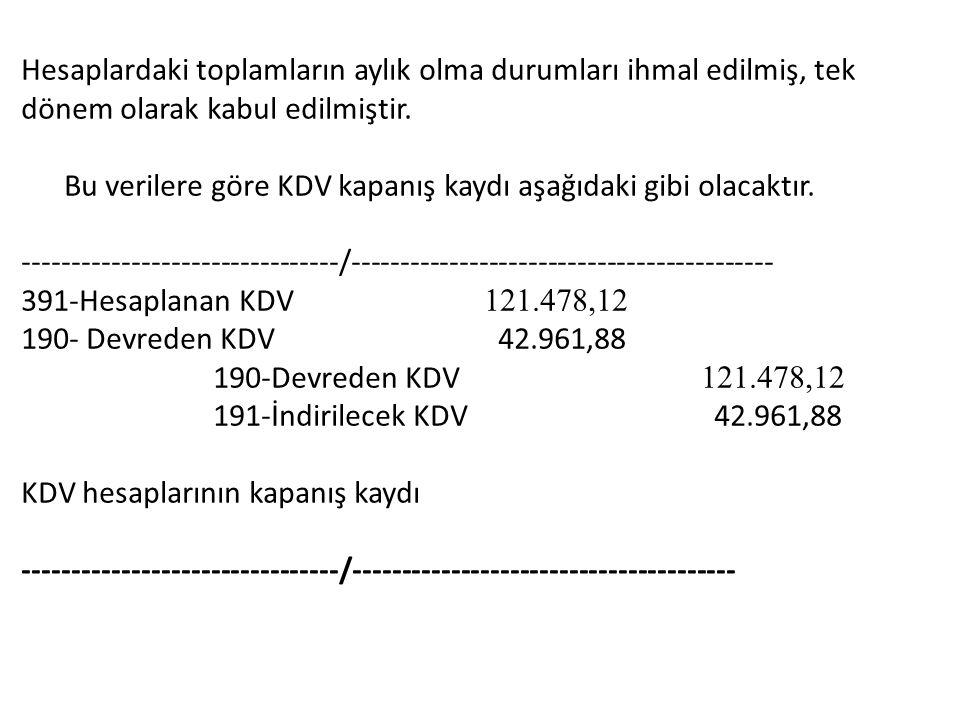 Hesaplardaki toplamların aylık olma durumları ihmal edilmiş, tek dönem olarak kabul edilmiştir. Bu verilere göre KDV kapanış kaydı aşağıdaki gibi olac