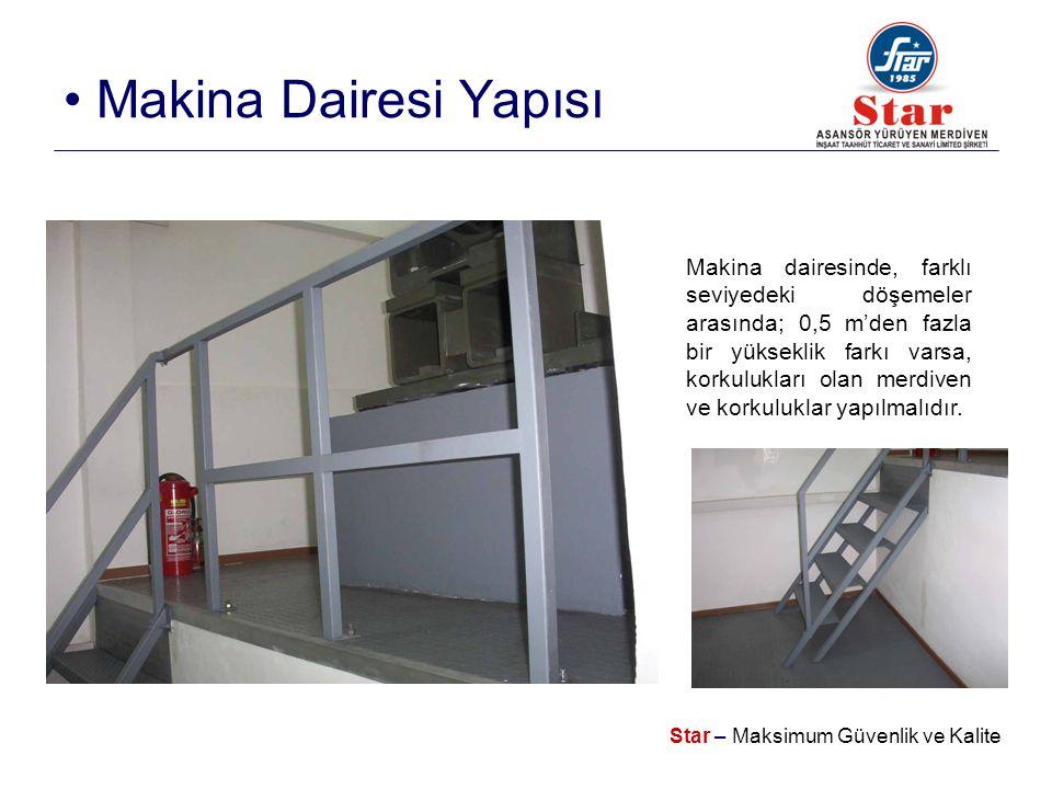 Star – Maksimum Güvenlik ve Kalite • Makina Dairesi Yapısı Makina dairesinde, farklı seviyedeki döşemeler arasında; 0,5 m'den fazla bir yükseklik farkı varsa, korkulukları olan merdiven ve korkuluklar yapılmalıdır.
