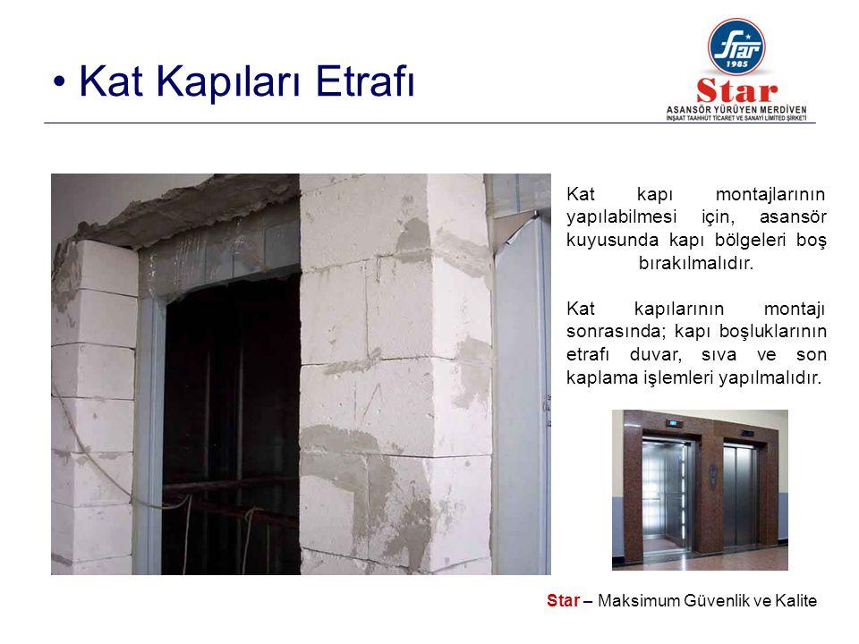 Star – Maksimum Güvenlik ve Kalite • Kat Kapıları Etrafı Kat kapı montajlarının yapılabilmesi için, asansör kuyusunda kapı bölgeleri boş bırakılmalıdır.
