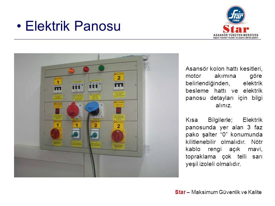 Star – Maksimum Güvenlik ve Kalite • Elektrik Panosu Asansör kolon hattı kesitleri, motor akımına göre belirlendiğinden, elektrik besleme hattı ve elektrik panosu detayları için bilgi alınız.