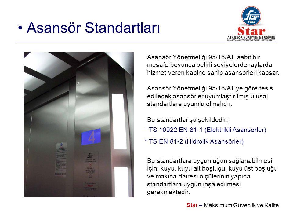 Star – Maksimum Güvenlik ve Kalite • Asansör Standartları Asansör Yönetmeliği 95/16/AT, sabit bir mesafe boyunca belirli seviyelerde raylarda hizmet veren kabine sahip asansörleri kapsar.