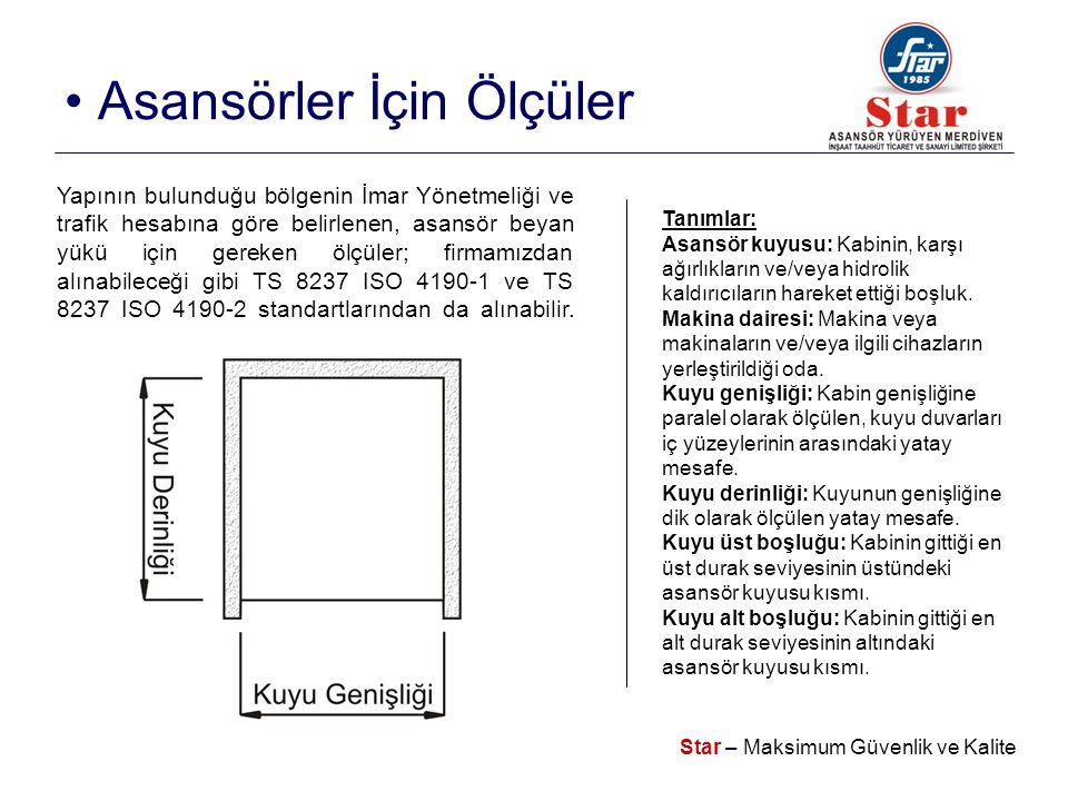 Star – Maksimum Güvenlik ve Kalite • Asansörler İçin Ölçüler Yapının bulunduğu bölgenin İmar Yönetmeliği ve trafik hesabına göre belirlenen, asansör beyan yükü için gereken ölçüler; firmamızdan alınabileceği gibi TS 8237 ISO 4190-1 ve TS 8237 ISO 4190-2 standartlarından da alınabilir.
