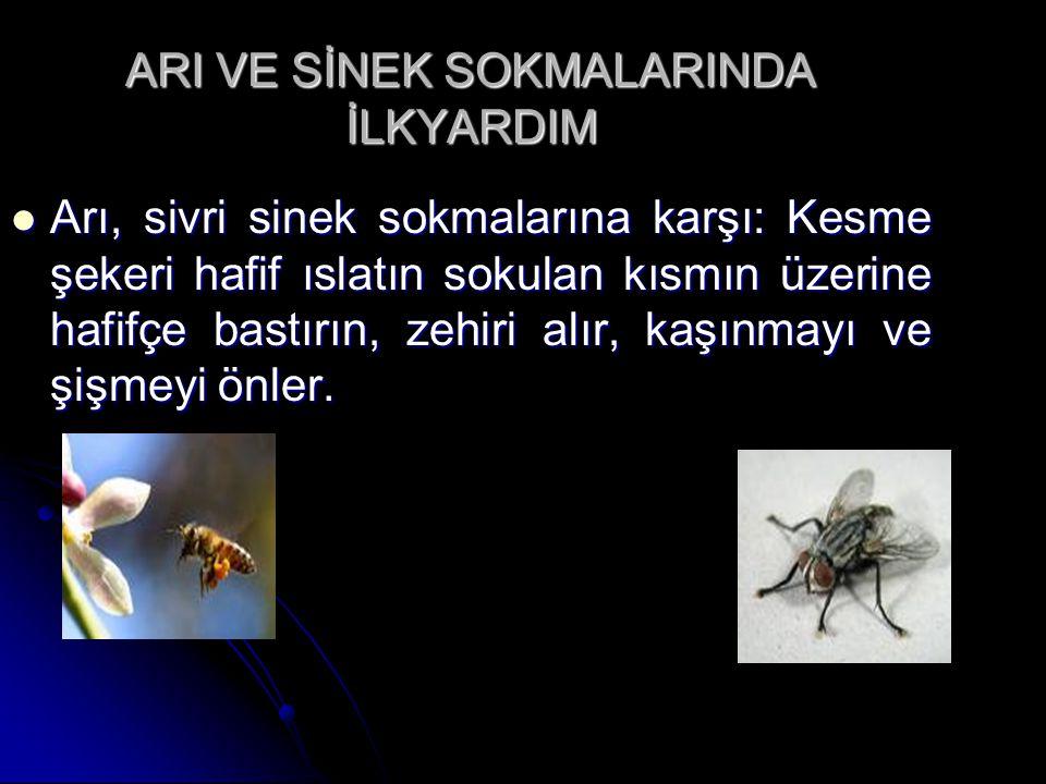 ARI VE SİNEK SOKMALARINDA İLKYARDIM  Arı, sivri sinek sokmalarına karşı: Kesme şekeri hafif ıslatın sokulan kısmın üzerine hafifçe bastırın, zehiri a