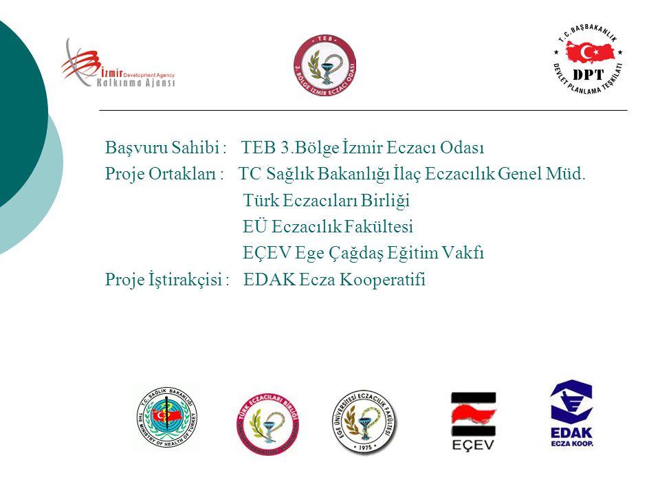 Başvuru Sahibi : TEB 3.Bölge İzmir Eczacı Odası Proje Ortakları : TC Sağlık Bakanlığı İlaç Eczacılık Genel Müd. Türk Eczacıları Birliği EÜ Eczacılık F