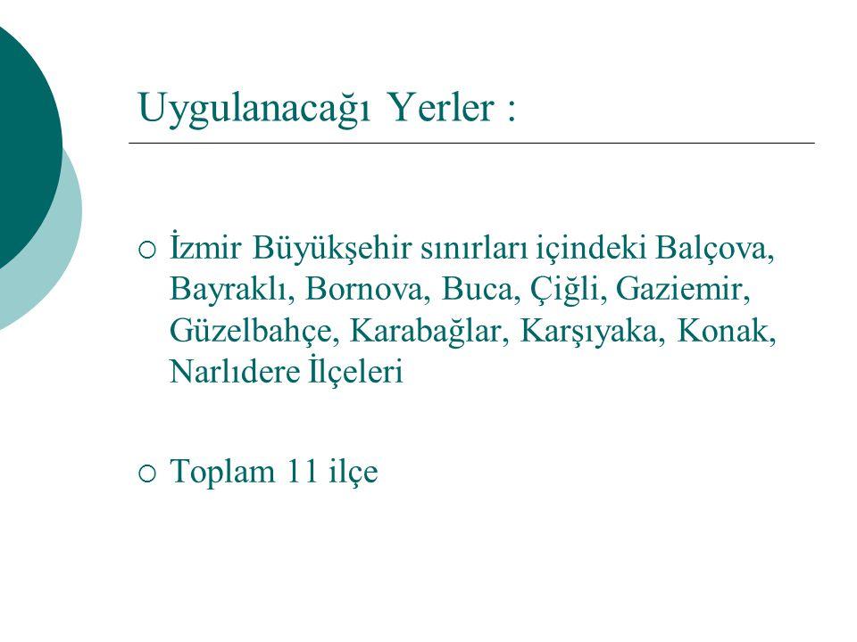 Uygulanacağı Yerler :  İzmir Büyükşehir sınırları içindeki Balçova, Bayraklı, Bornova, Buca, Çiğli, Gaziemir, Güzelbahçe, Karabağlar, Karşıyaka, Kona