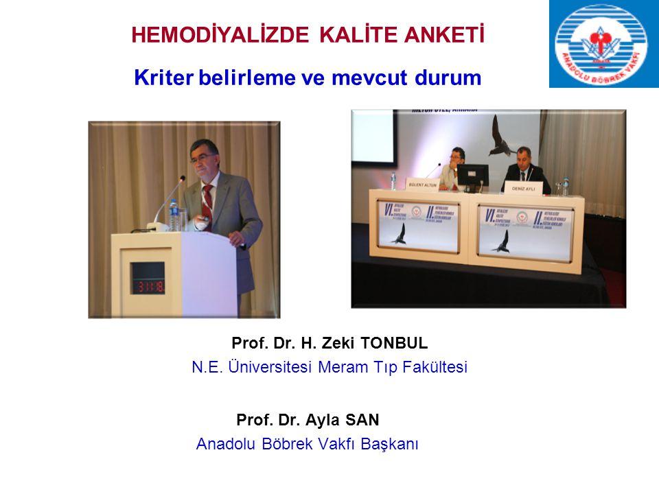 HEMODİYALİZDE KALİTE ANKETİ Kriter belirleme ve mevcut durum Prof. Dr. H. Zeki TONBUL N.E. Üniversitesi Meram Tıp Fakültesi Prof. Dr. Ayla SAN Anadolu