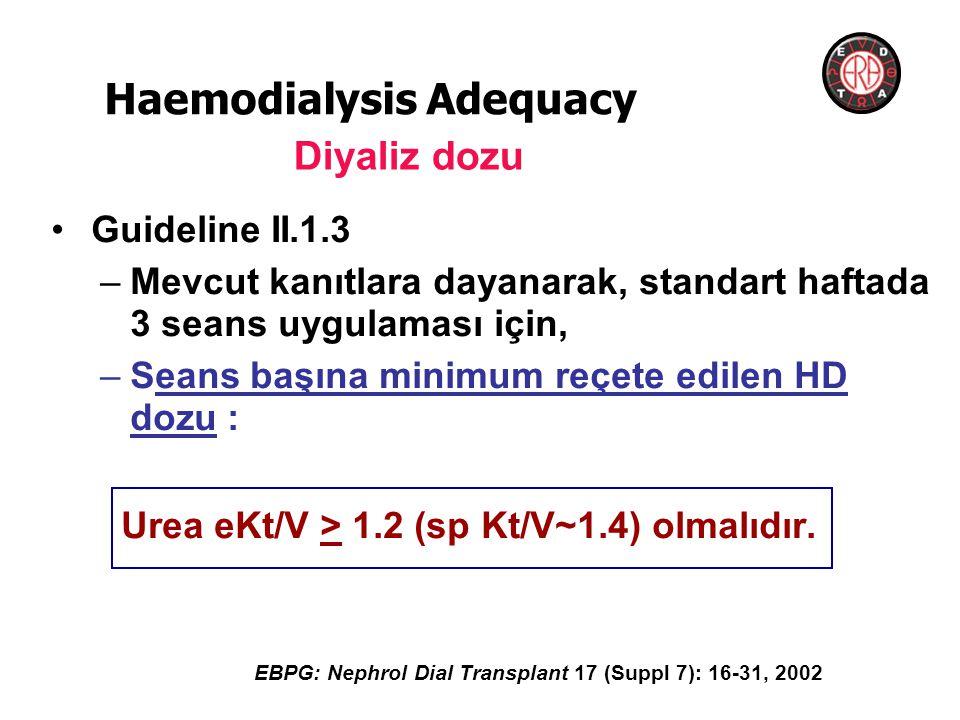 •Guideline II.1.3 –Mevcut kanıtlara dayanarak, standart haftada 3 seans uygulaması için, –Seans başına minimum reçete edilen HD dozu : Urea eKt/V > 1.