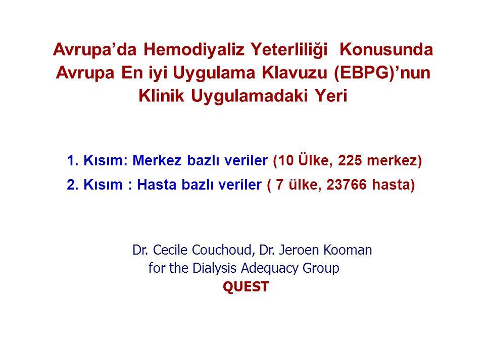 Avrupa'da Hemodiyaliz Yeterliliği Konusunda Avrupa En iyi Uygulama Klavuzu (EBPG)'nun Klinik Uygulamadaki Yeri 1. Kısım: Merkez bazlı veriler (10 Ülke