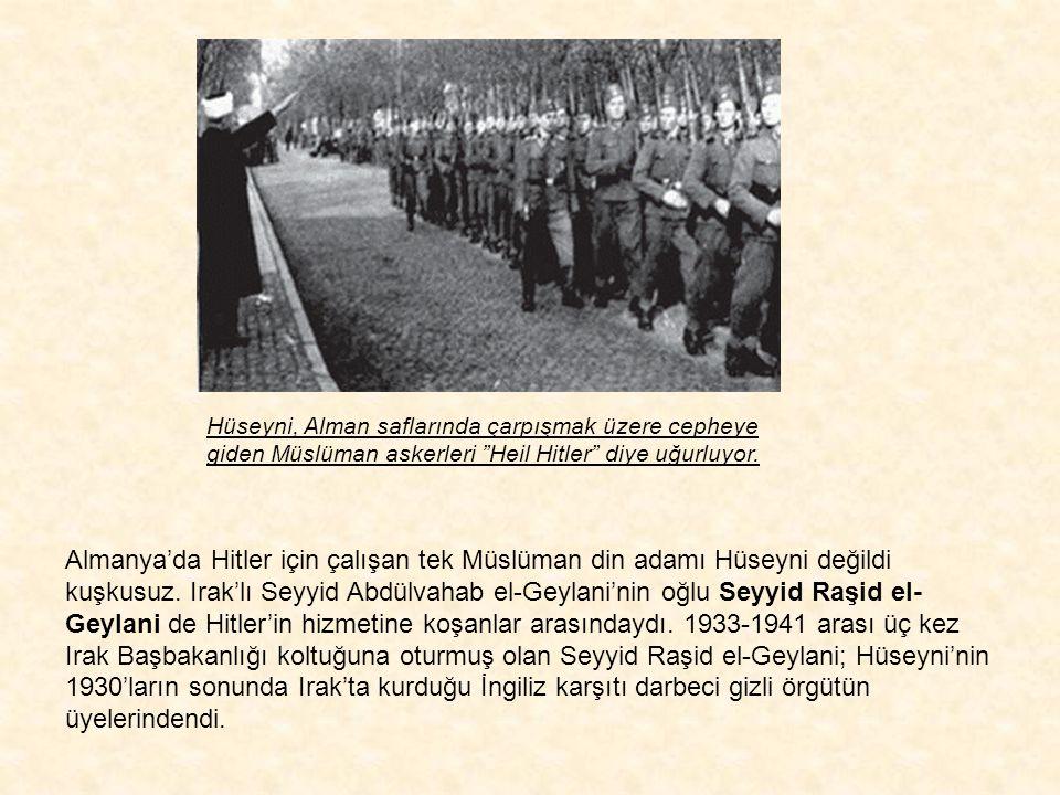 """Nazi Müftüsü Hüseyni, Almanların verdiği silahları deniyor. Hüseyni, Nazi ordusunda görev yapan Müslüman subayları topluyor, onları """"İslam İlkeleriyle"""