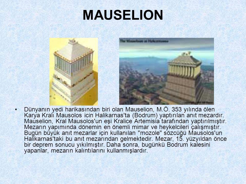 ZEUS HEYKELİ •Dünyanın yedi harikasından biri olan Zeus Heykeli, Yunanistan´da Olympia kentindeki Zeus Tapınağı için yaptırılmıştır. 12 metre yüksekli