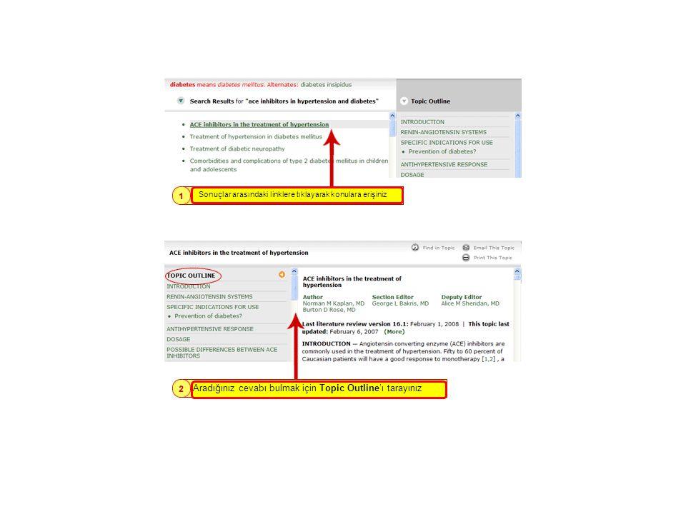 Mouse'u Arama Sonuçları üzerinde getirdiğinizde ekranın sağ tarafında Topic Outline belirmektedir.