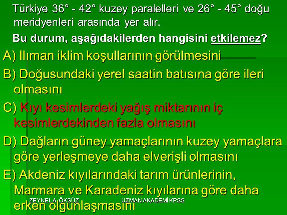 ZEYNEL A. ÖKSÜZUZMAN AKADEMİ KPSS Türkiye 36° - 42° kuzey paralelleri ve 26° - 45° doğu meridyenleri arasında yer alır. Türkiye 36° - 42° kuzey parale