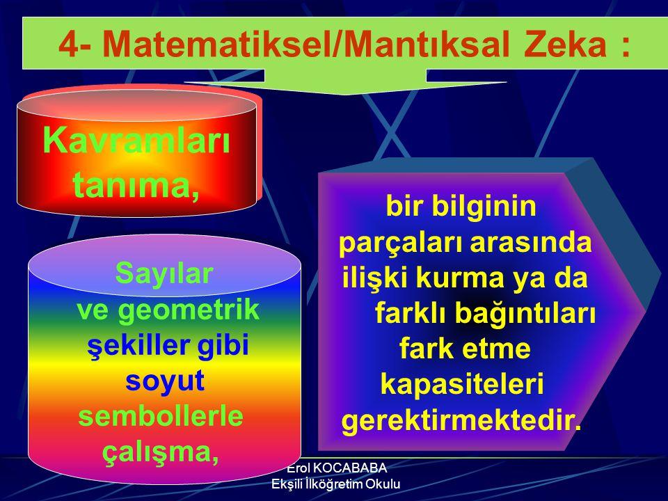 Erol KOCABABA Ekşili İlköğretim Okulu 4- Matematiksel/Mantıksal Zeka : Bilimsel düşünme, objektif gözlem yapma, elde edilen verilerden sonuç çıkarma,