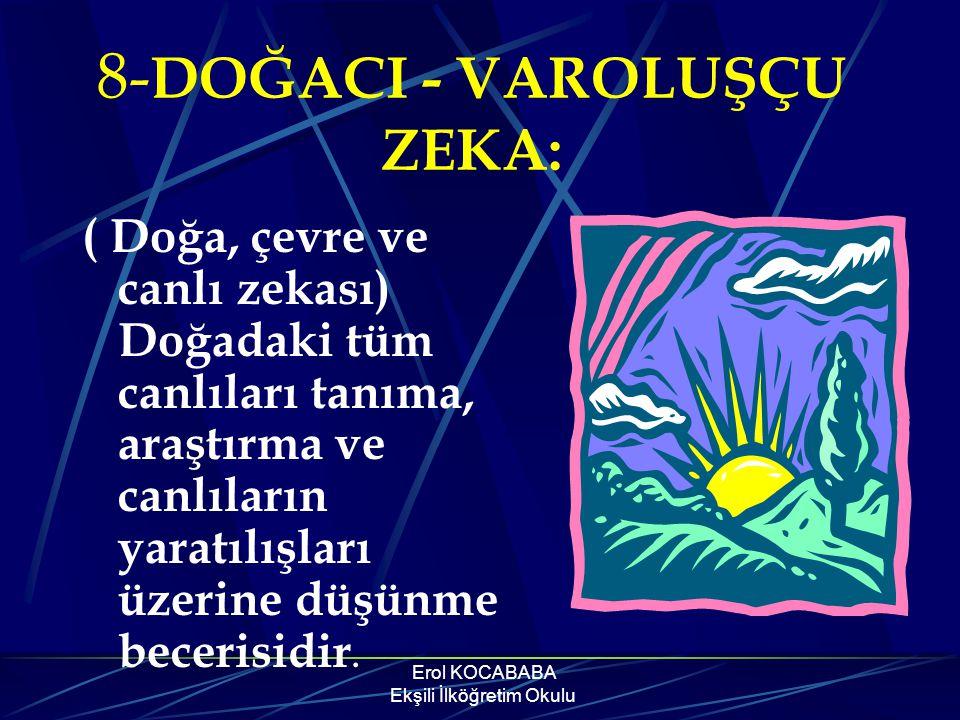 Erol KOCABABA Ekşili İlköğretim Okulu Özedönük Zeka ile öğrenenler; -Özgürlüğe düşkün olma eğilimine, -Zayıf ve güçlü yönleri hakkında yansız bir görü