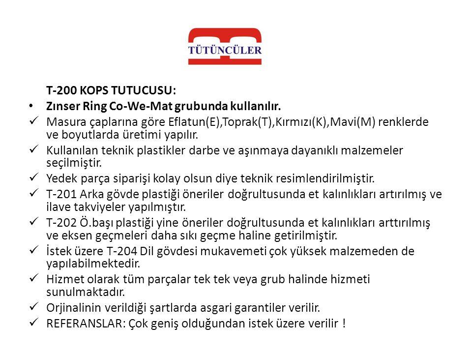 T-200 KOPS TUTUCUSU: • Zınser Ring Co-We-Mat grubunda kullanılır.