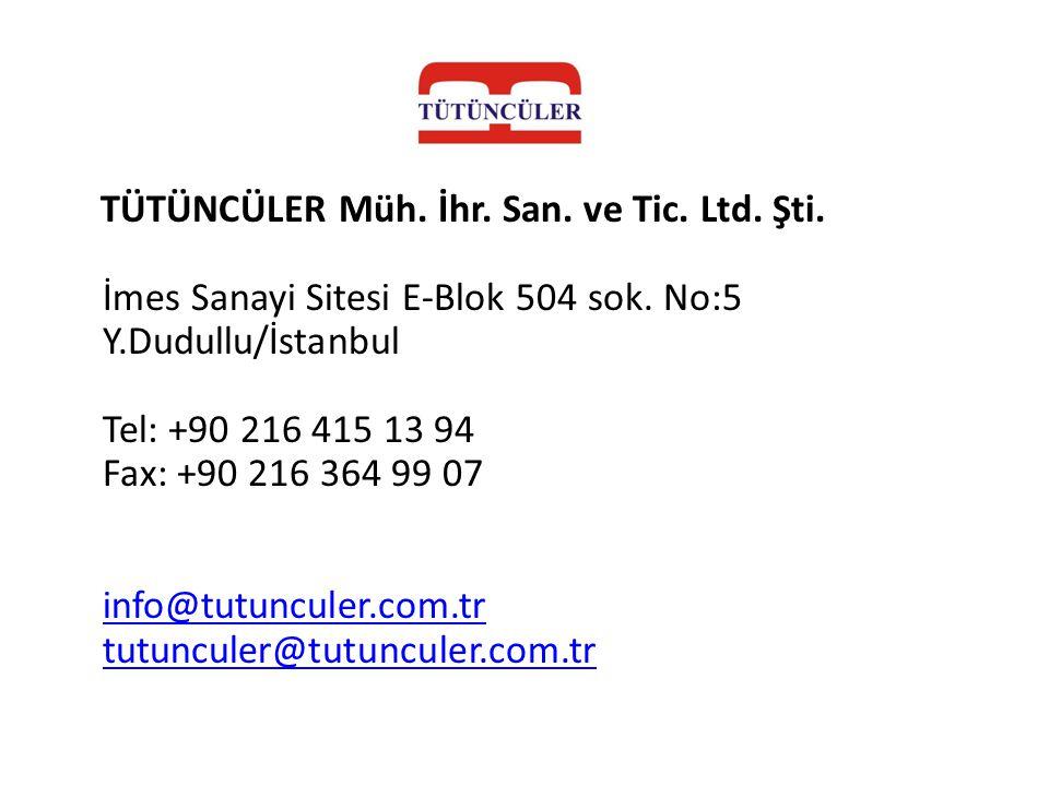 TÜTÜNCÜLER Müh. İhr. San. ve Tic. Ltd. Şti. İmes Sanayi Sitesi E-Blok 504 sok. No:5 Y.Dudullu/İstanbul Tel: +90 216 415 13 94 Fax: +90 216 364 99 07 i