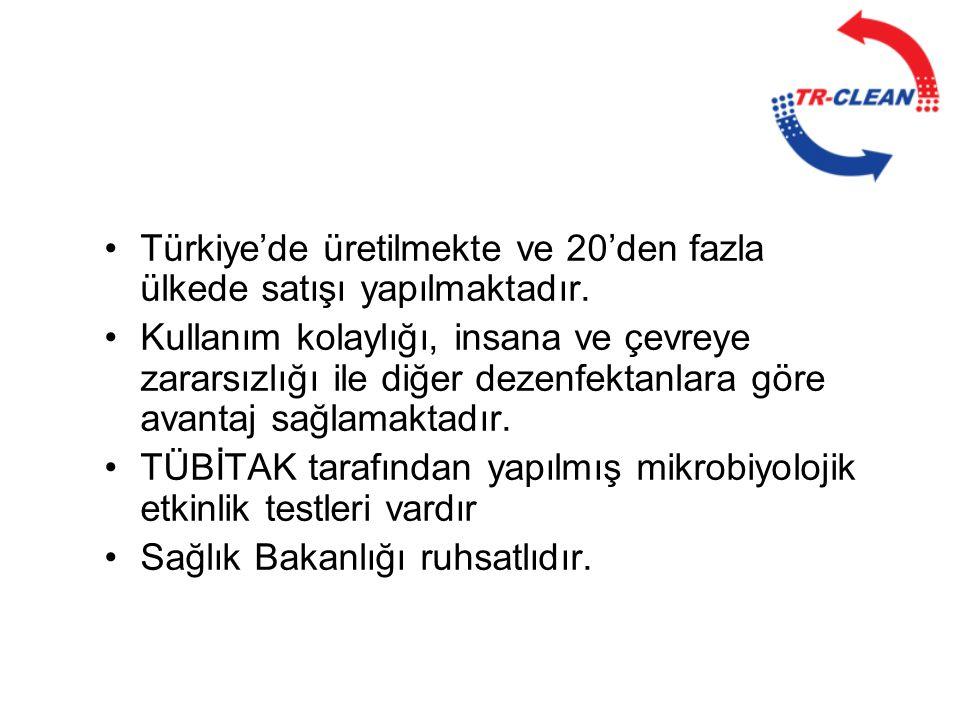 •Türkiye'de üretilmekte ve 20'den fazla ülkede satışı yapılmaktadır. •Kullanım kolaylığı, insana ve çevreye zararsızlığı ile diğer dezenfektanlara gör